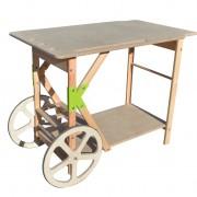 KOUKAPLANCHA-TABLE EN BOIS-PLANCHA-TABLE A PLANCHA-ROUES EN BOIS-DESSERTE-GARDEN K