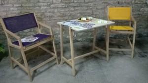 ENSEMBLE K6-FAUTEUIL HAUT-TABLE HAUTE EN BOIS-CHAISE-FETE DU CREMANT