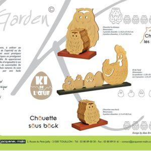 DESSOUS DE VERRES-GARDEN K-CHOUETTE-POULE