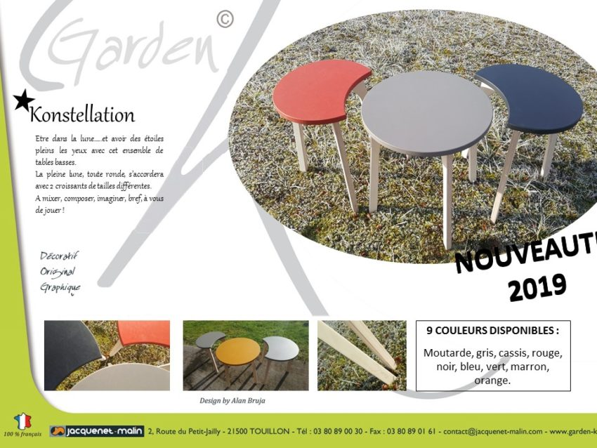 TABLES BASSES RONDES DESIGN-TABLE RONDE-TABLE DE SALON-LUNE-CROISSANTS DE LUNE-COMBINABLE-DESIGN-FRANCAIS-GARDEN K