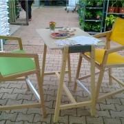 FAUTEUIL HAUT-TABLE HAUTE-ENSEMBLE K6-GARDEN K-BOIS-SALON DE JARDIN EN BOIS