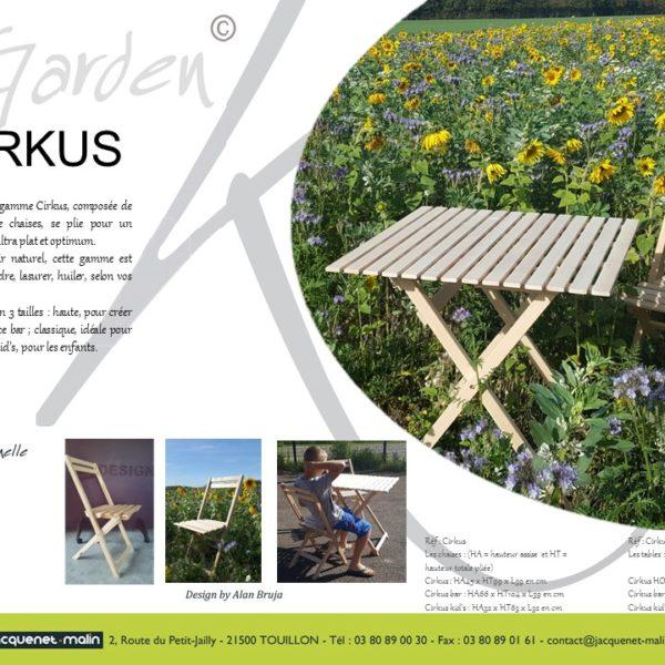CIRKUS - TABLES ET CHAISES PLIANTES BOIS - GARDEN K